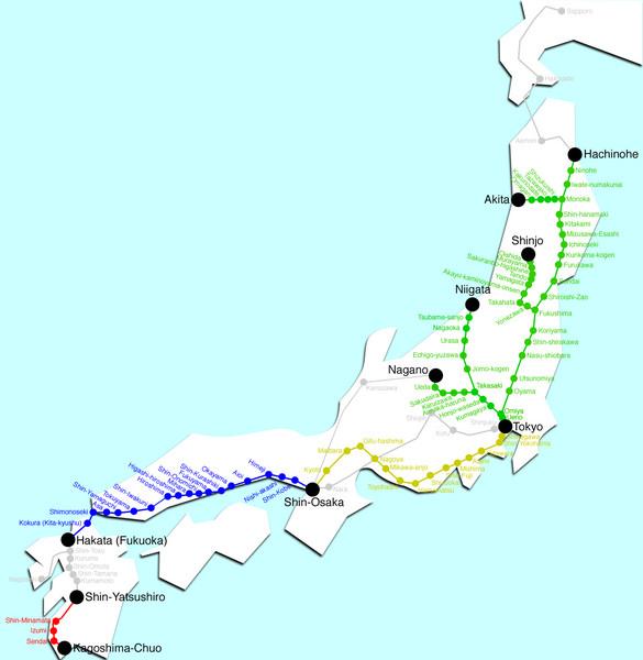 Japan Bullet Train Map Japan Mappery - Japan map view