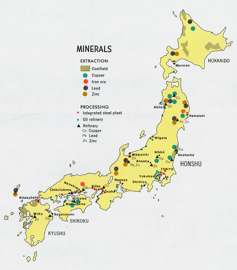 Japan minerals map see map details from www lib utexas edu created