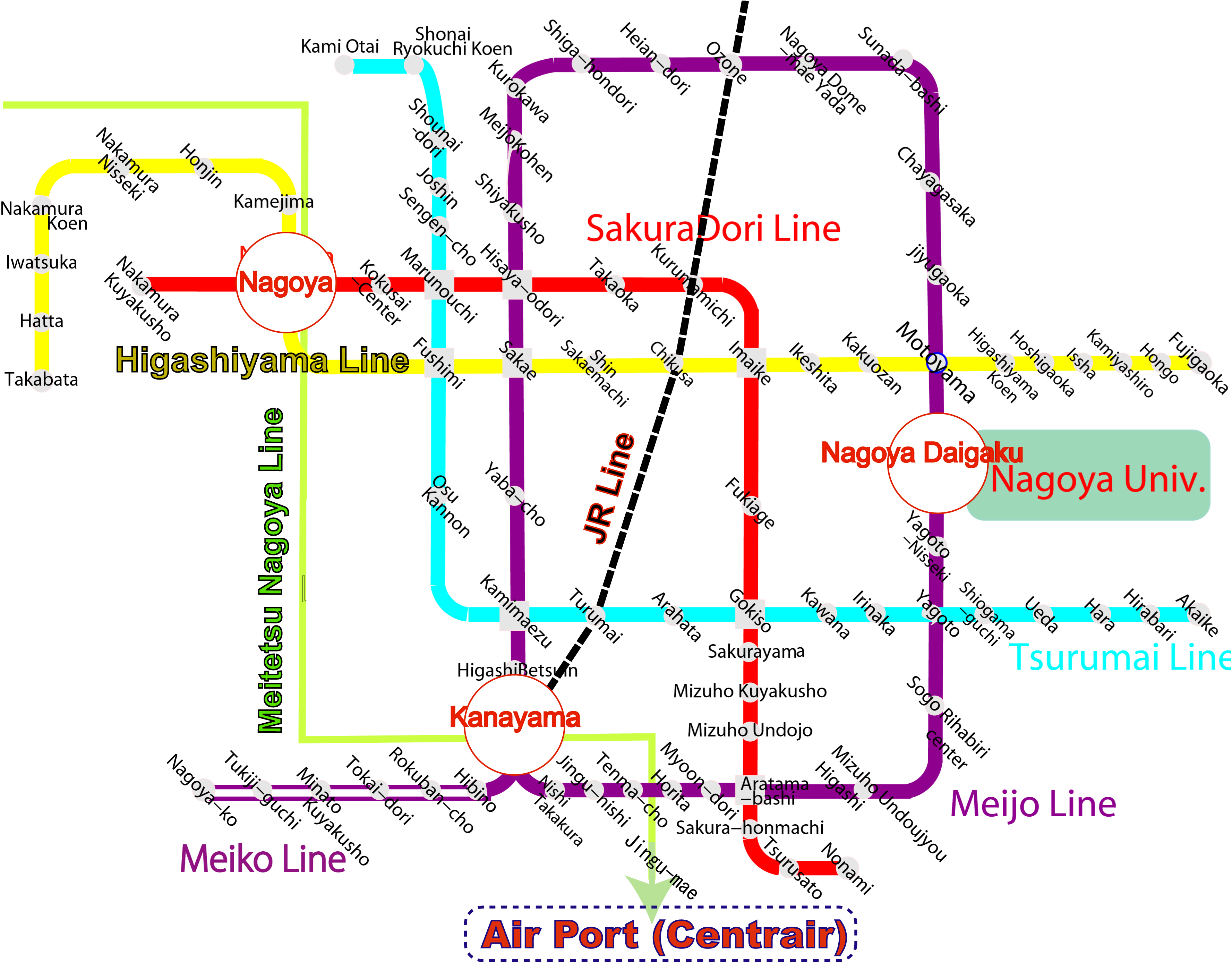 Japan Subway Map Nagoya Aichi Japan Mappery - Japan map nagoya