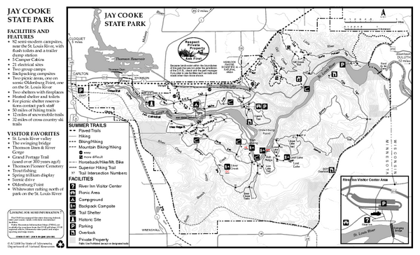 Jay Cooke State Park Summer Map 780 Highway 210 Carlton Mn \u2022 Mappery: Pattison State Park Map At Usa Maps