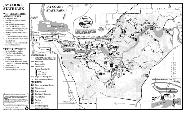 Jay Cooke State Park Winter Map