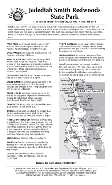 Jedediah Smith Redwoods State Park Campground Map