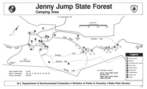 Jenny Jump State Forest map