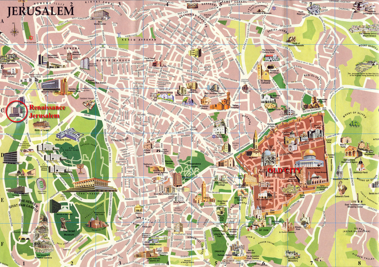 Jerusalem Tourist Map Jerusalem Israel mappery – Tourist Map of Israel