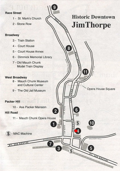 Jim Thorpe Tourist Map