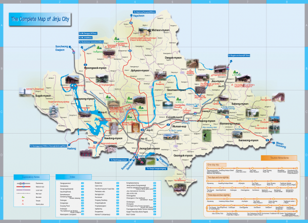 Tourist map of Jingu, Korea and surrounding area. Shows photos of points of