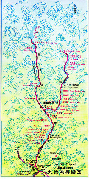 Jiuzhaigou Hiking Map
