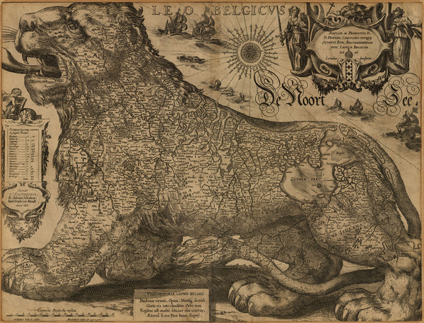 Jodocus Hondius' Map of Belgium as a Lion (1611)