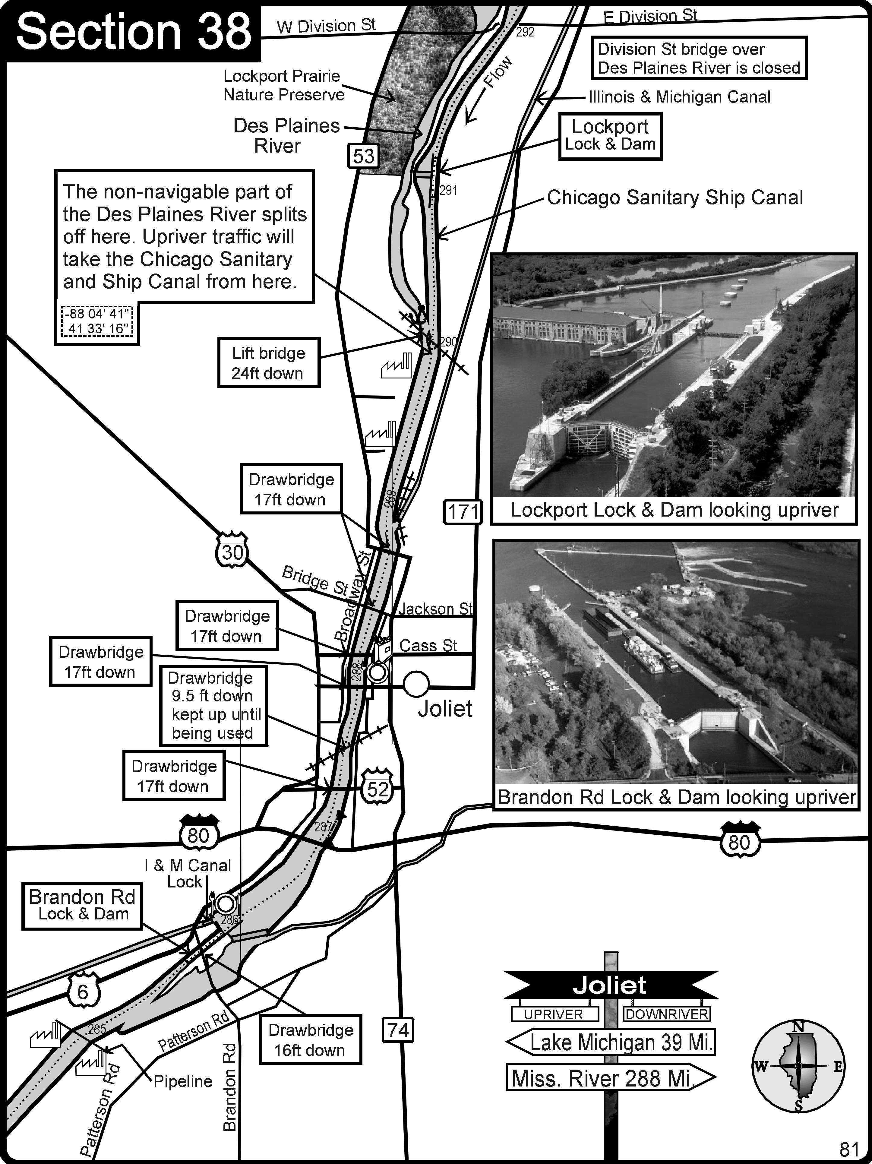 Joliet IL Illinios riverDes Plaines RiverIM Canal Map Joliet IL