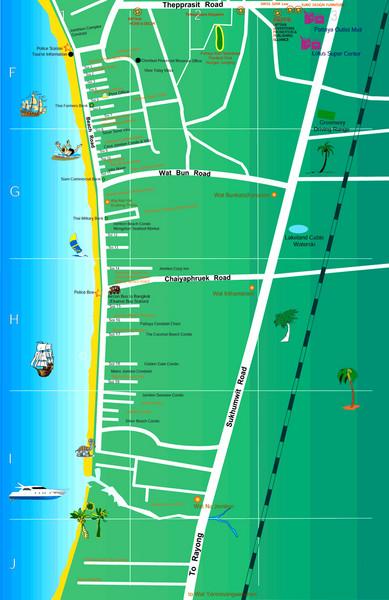 Jomtien Thailande Carte.Jomtien Beach Map Jomtien Mappery