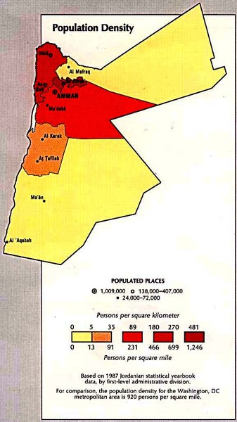 Jordan Population Density Map Jordan mappery