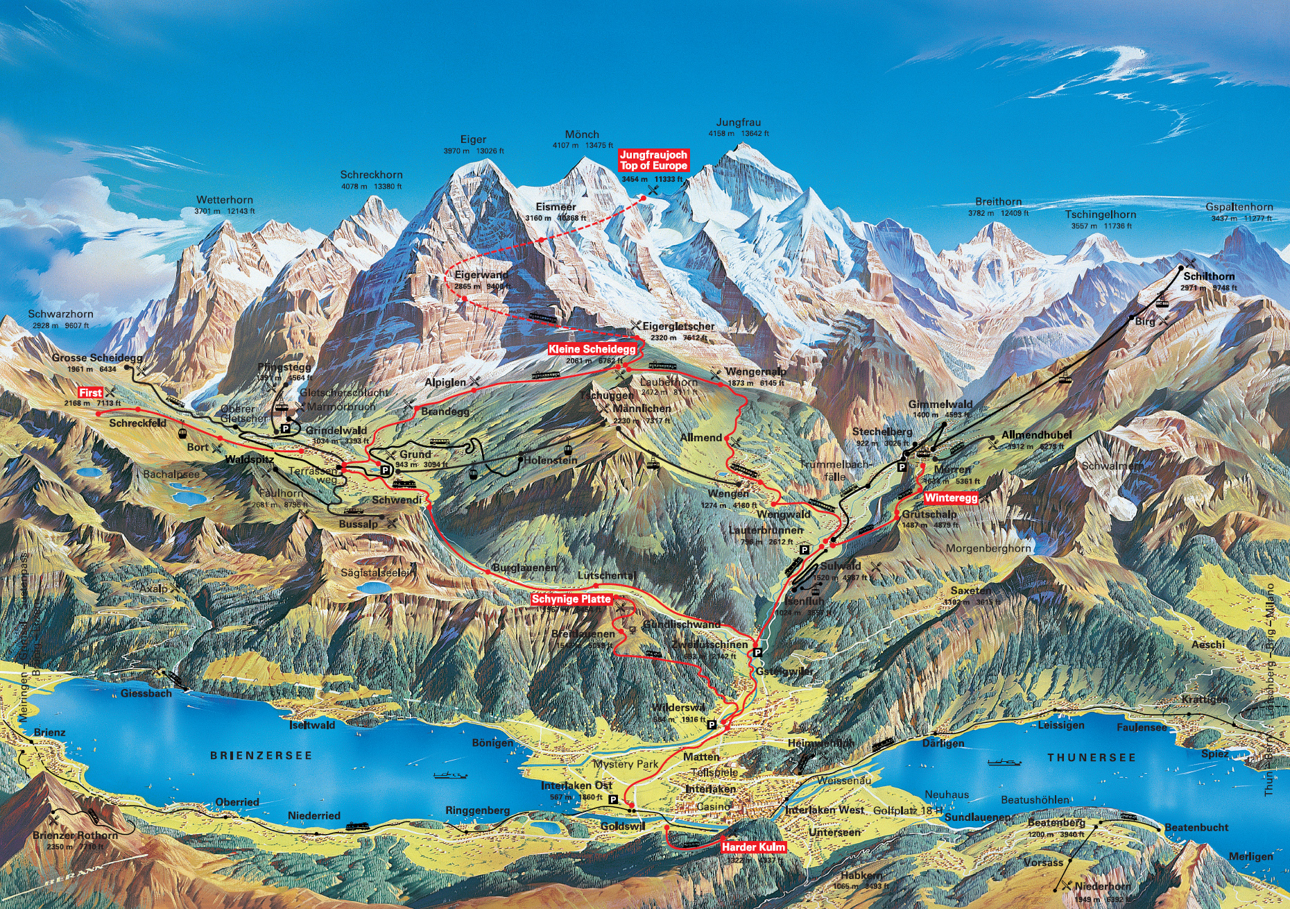Jungfrau Grindelwald region summer map Grindelwald Switzerland