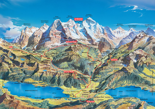Jungfrau Grindelwald region summer map