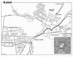Kabul, Afghanistan Tourist Map