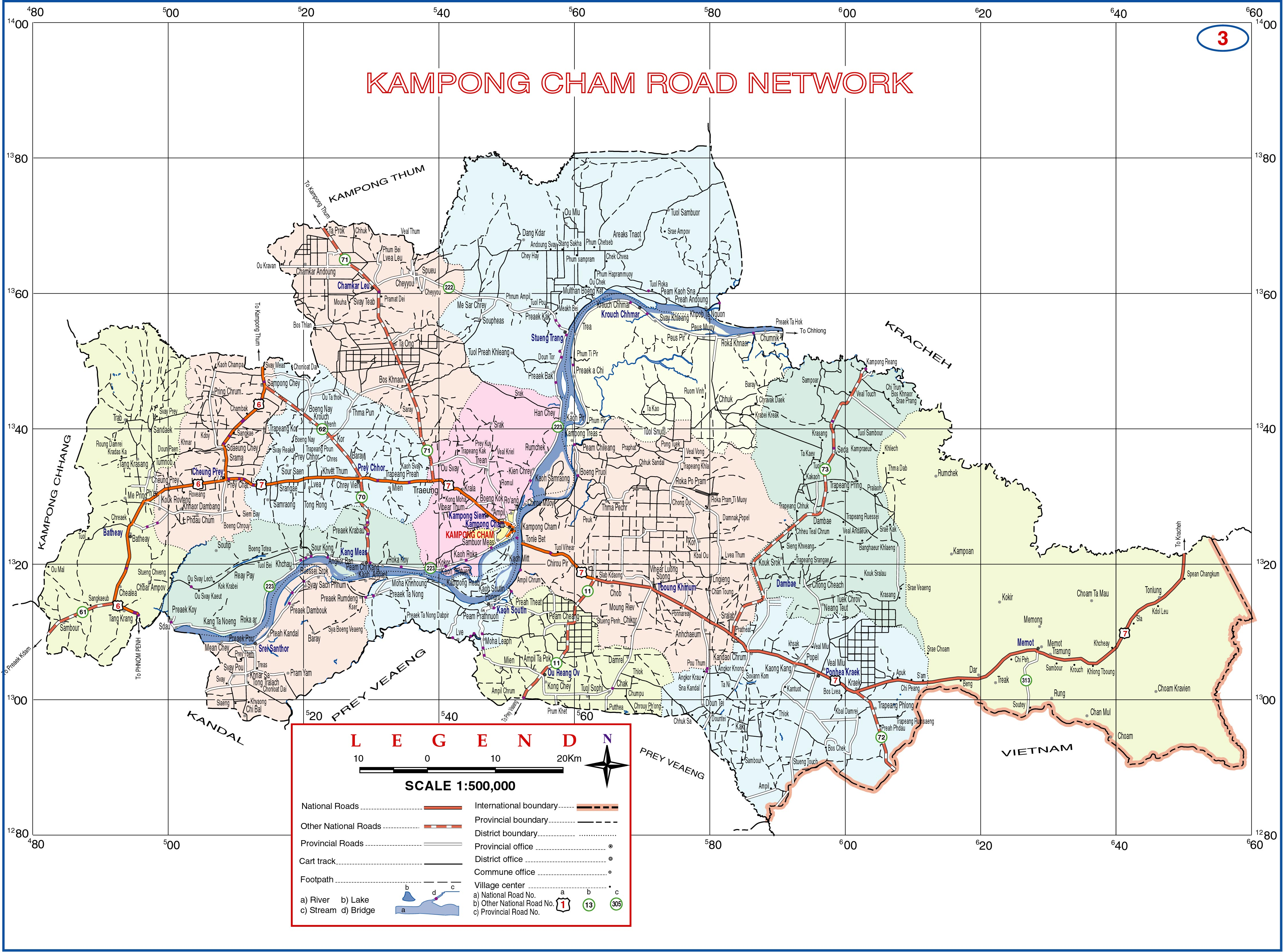 Kampong Cham Province Cambodia Road Map Kampong Cham Province