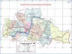 Kampong Cham Province Cambodia Road Map