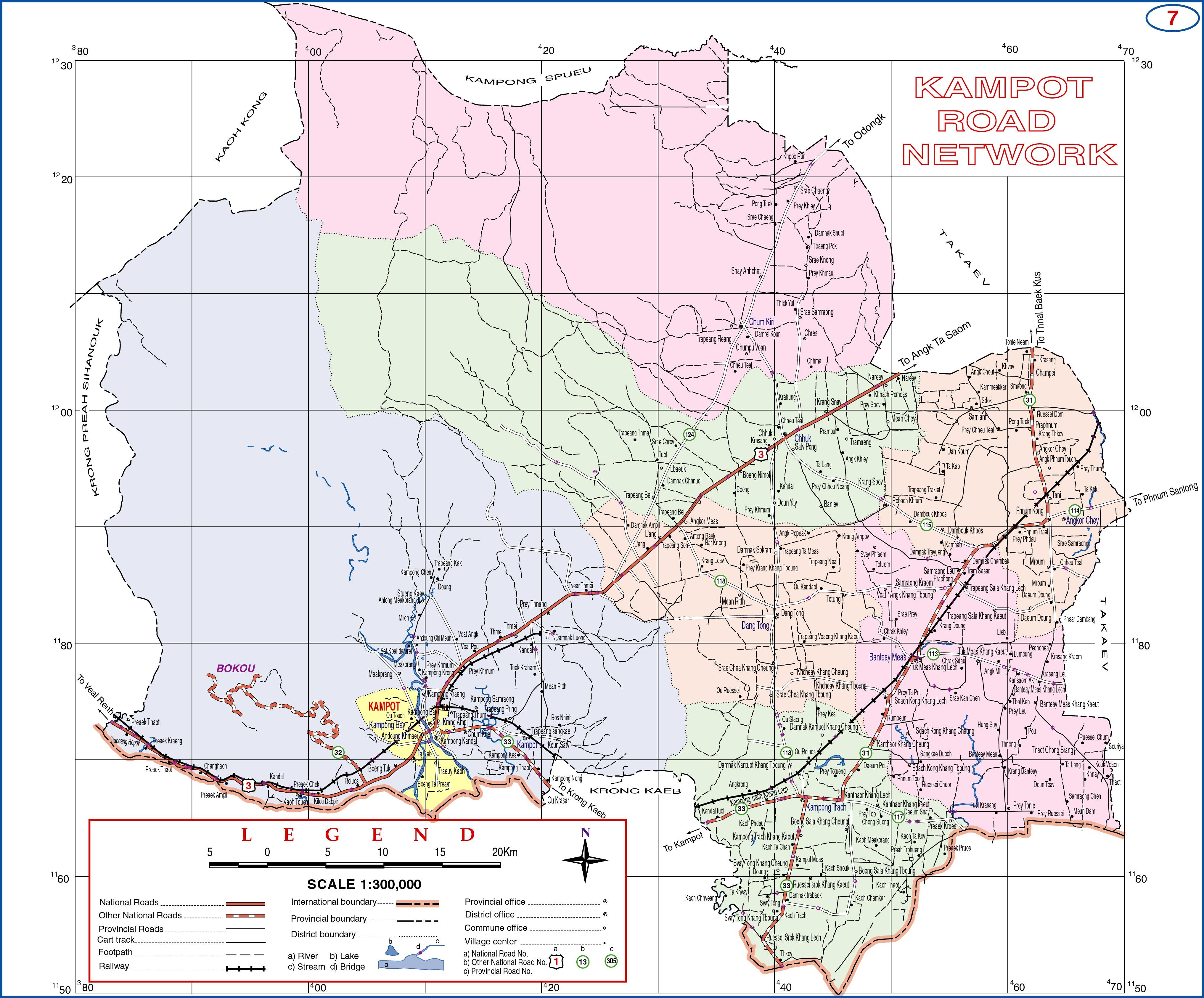 Kampot Cambodia  city photos : Kampot Province Cambodia Road Map Kampot Kampot Province Cambodia ...