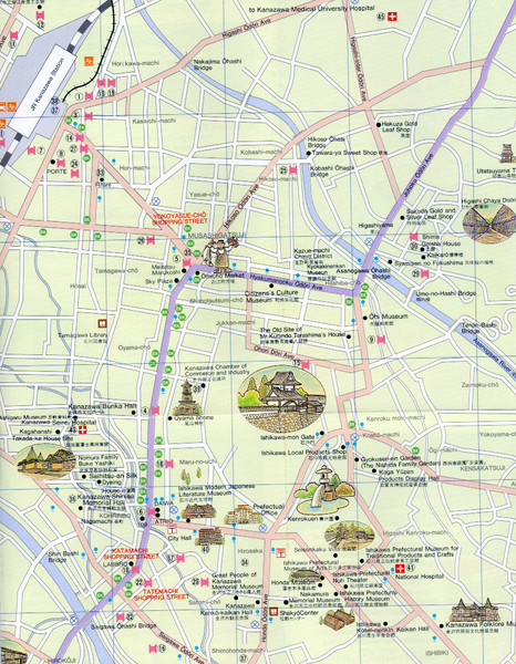 Toyama City Tourist Map toyama japan mappery