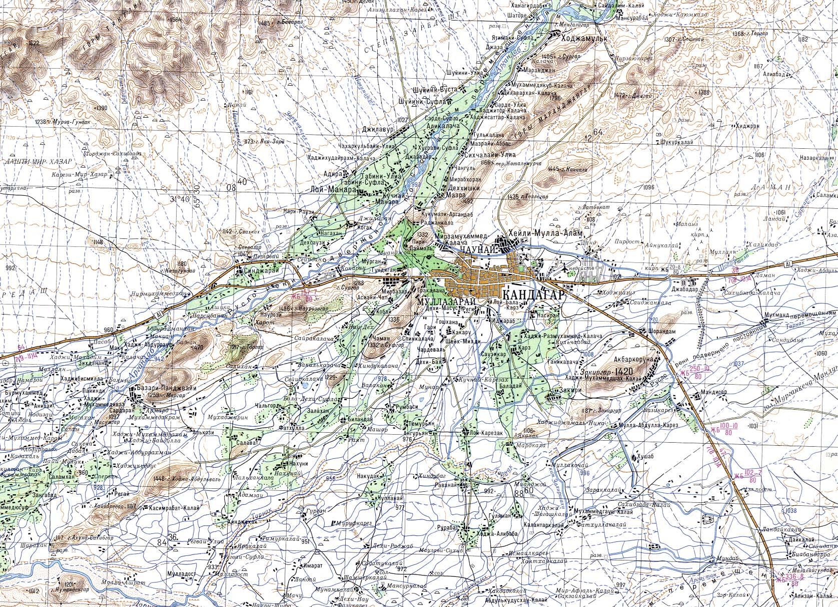 Kandahar Area Topo Map Kandahar Afghanistan mappery