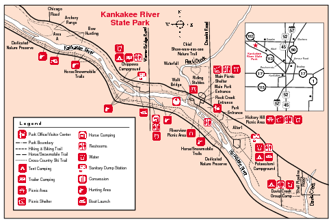 Fullsize Kankakee River State Park, Illinois Site Map