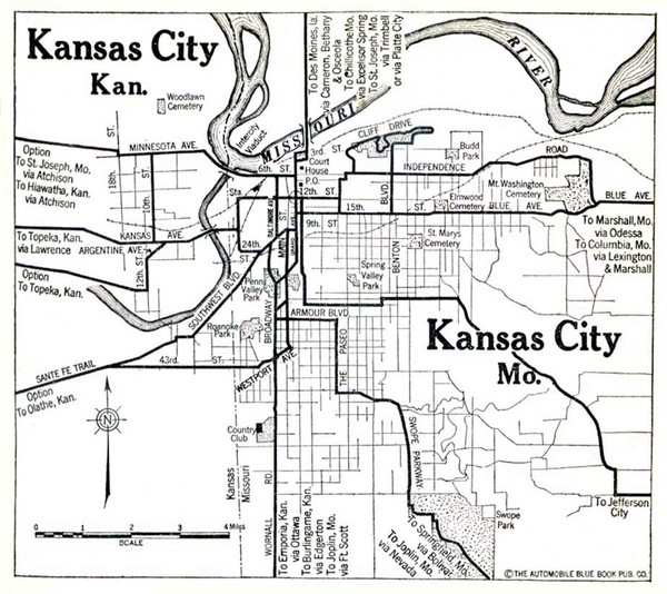 Kansas City The Automobile Blue Book 1920 Map kansas city mo mappery