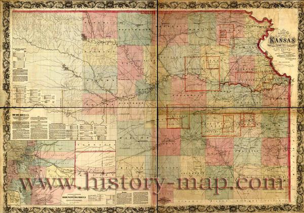 map of canada 1867. Kansas Railroad Map 1867