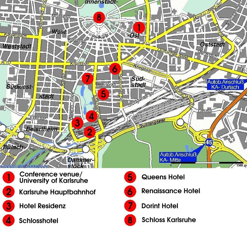 Karlsruhe Hotel Map Karlsruhe mappery