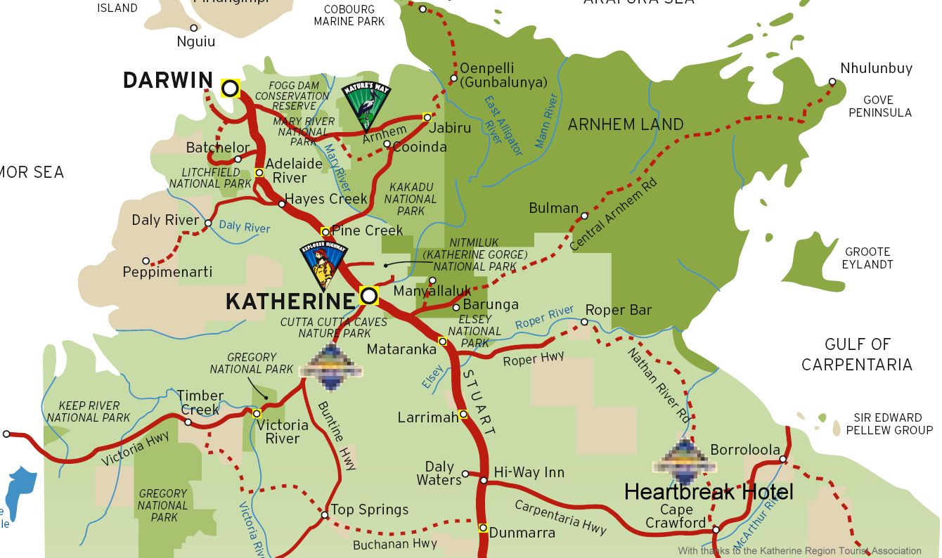 Map Of Australia Kakadu National Park.Katherine Australia Tourism Map Katherine Australia Mappery