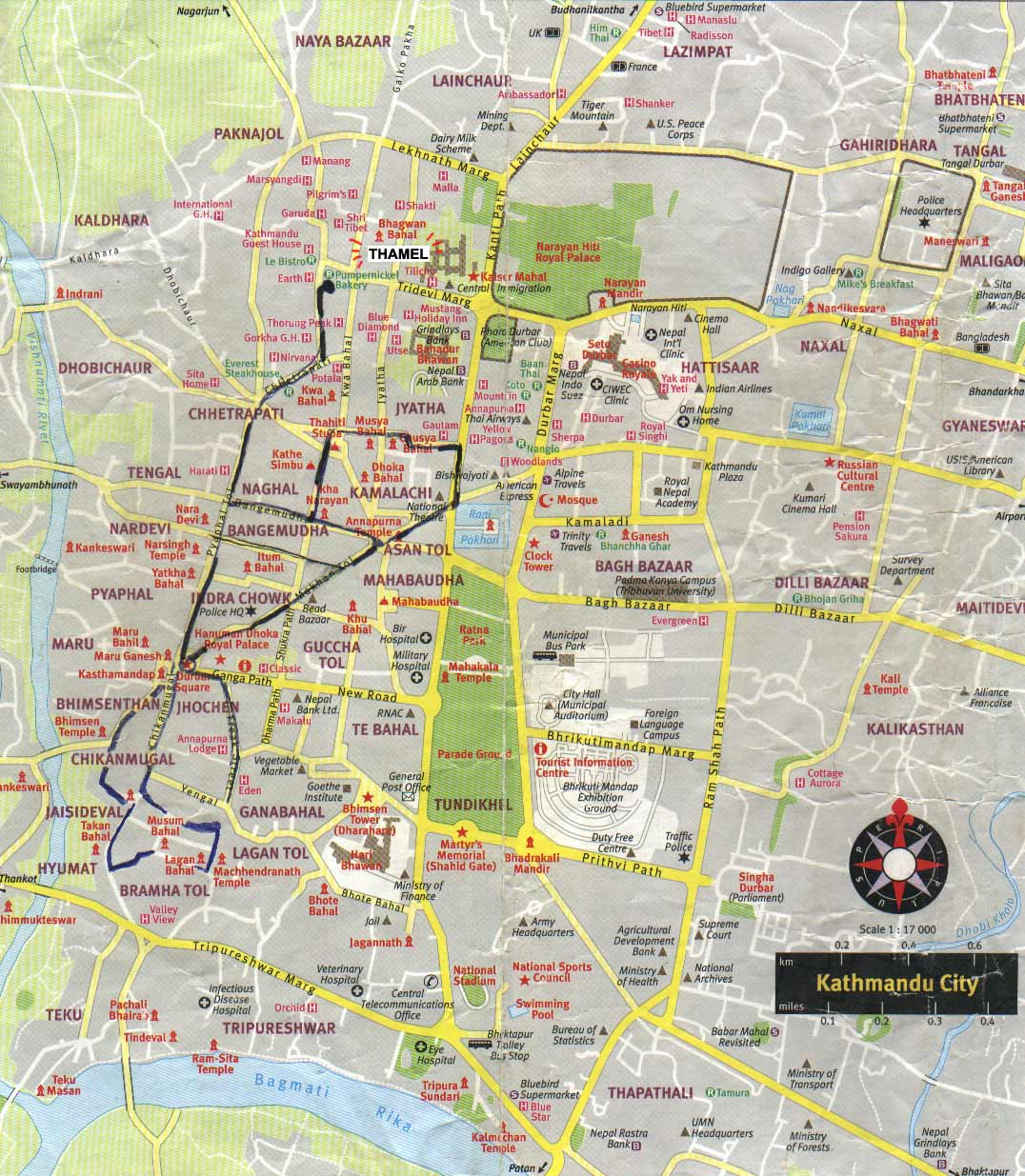 Kathmandu city tourist map see map details from travelportal info
