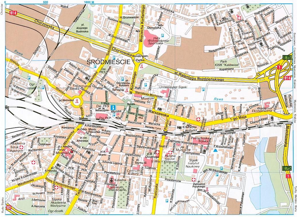 Katowice Tourist Map Katowice Poland mappery CitiesTipscom