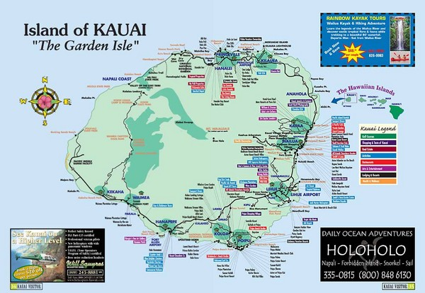 Kauai Island, Hawaii Tourist Map