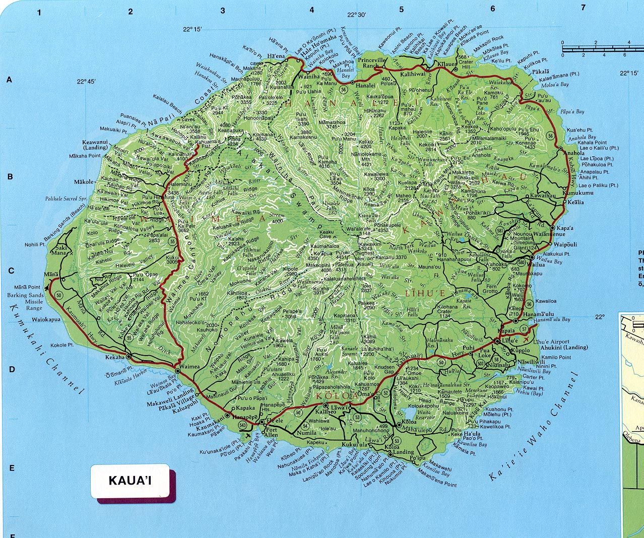 . kauai map  kauai hawaii • mappery
