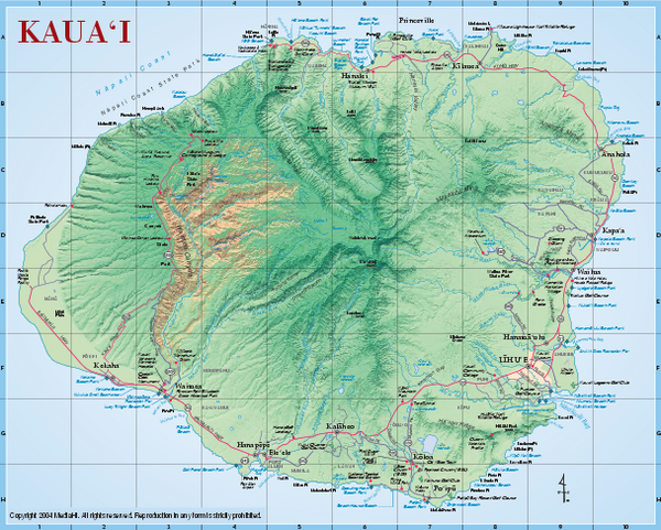 Kauai Relief Map Kauai mappery – Tourist Map Of Kauai
