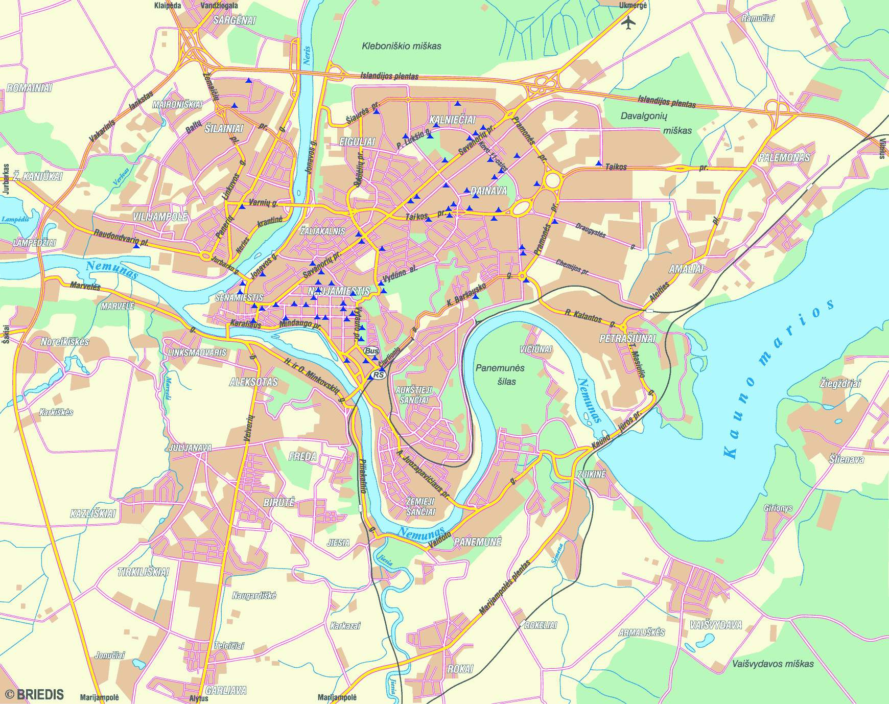 Kaunas Map Kaunas Lithuania Mappery - Kaunas map