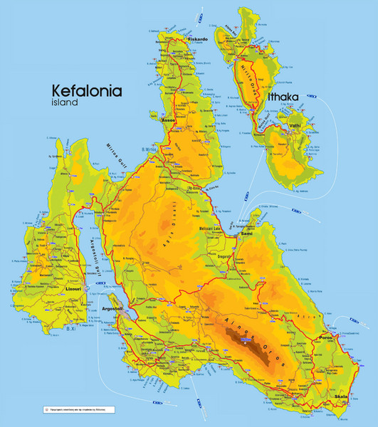 Kefalonia and Ithaka Map Tarkasaacuteta Greece mappery