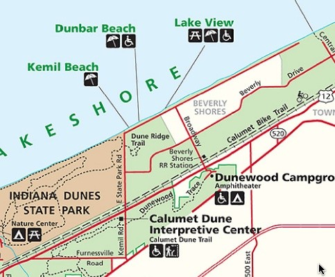 Kemil Beach, Indiana Tourist Map