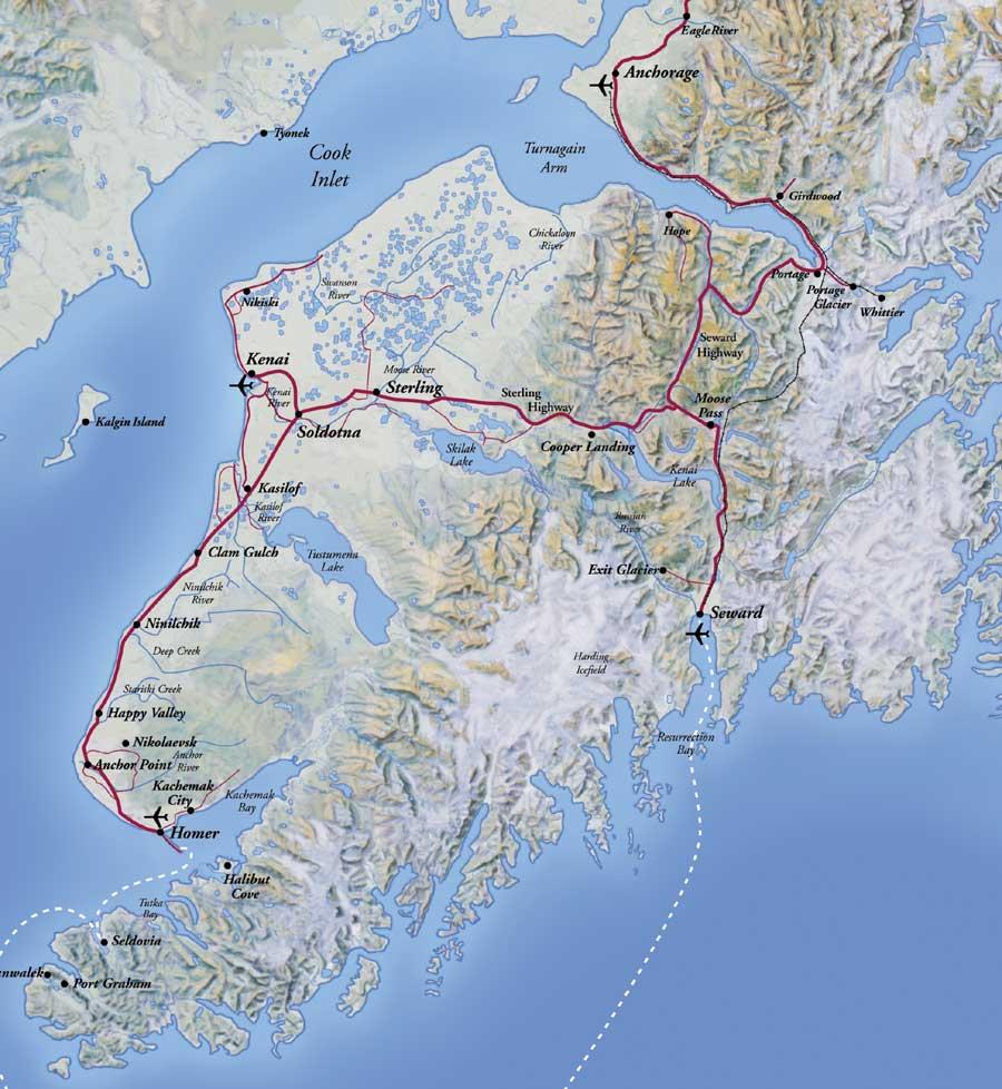 Resurrection Bay Alaska Map.Kenai Peninsula Alaska Map Kenai Peninsula Alaska Mappery
