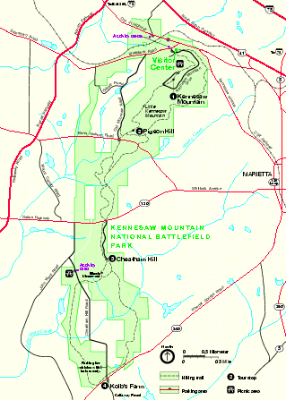 Kennesaw Mountain National Battlefield Park Official Map