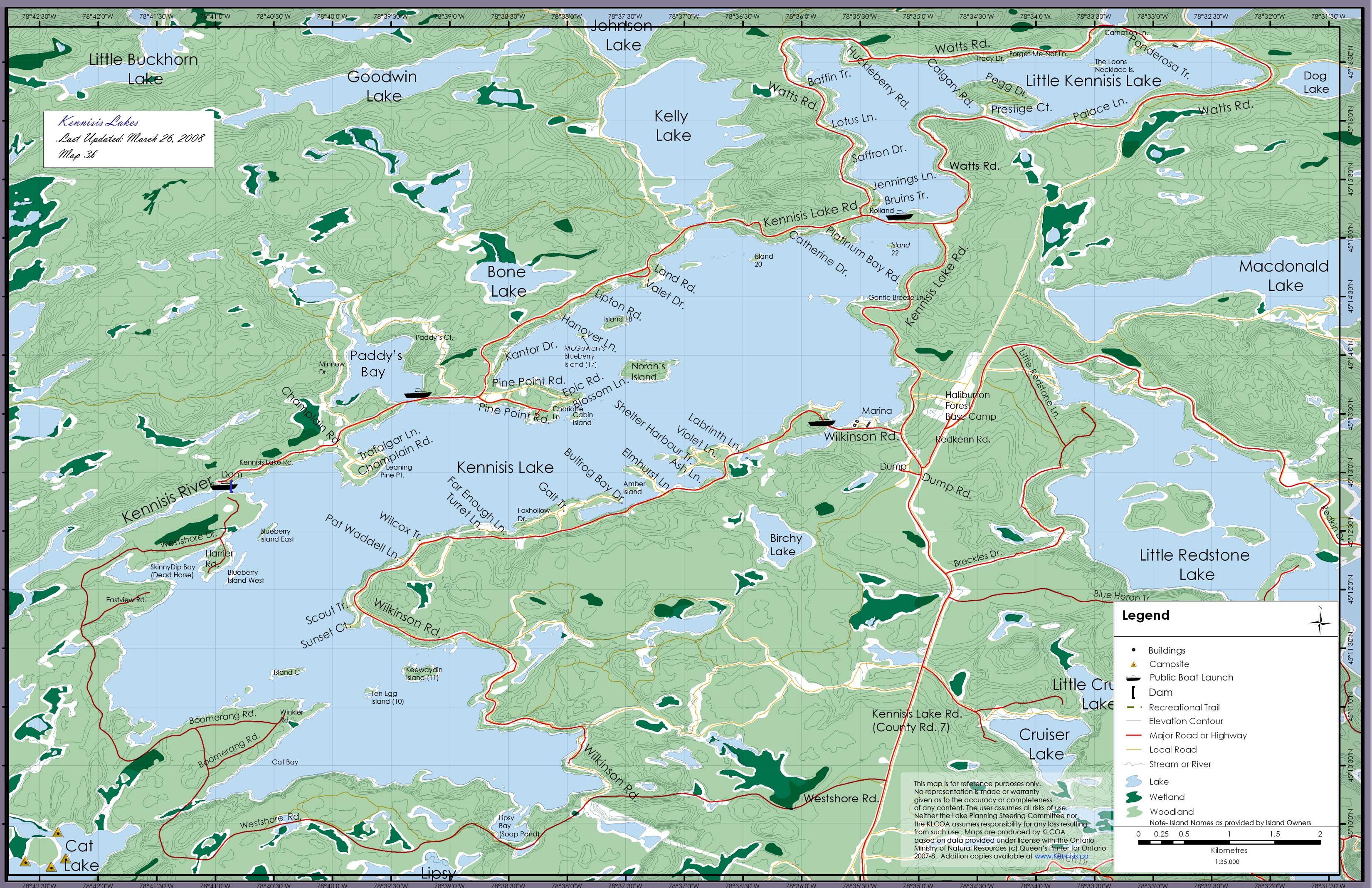 Kennisis Lakes Map Kennisis Lake Mappery - Ontario fishing lakes maps