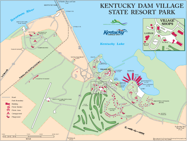 Kentucky Dam Village State Resort Park Map Gilbertsville KY - Map of kentucky state