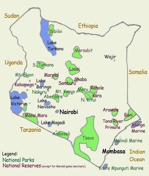 Kenya tourist map kenya mappery fullsize kenya tourist map gumiabroncs Images