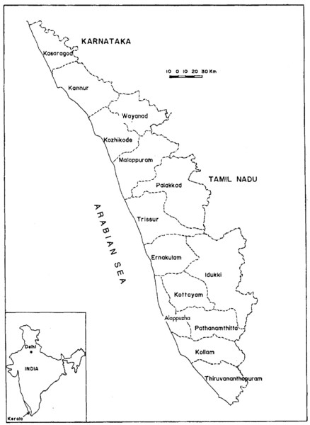 Kerala, India Map