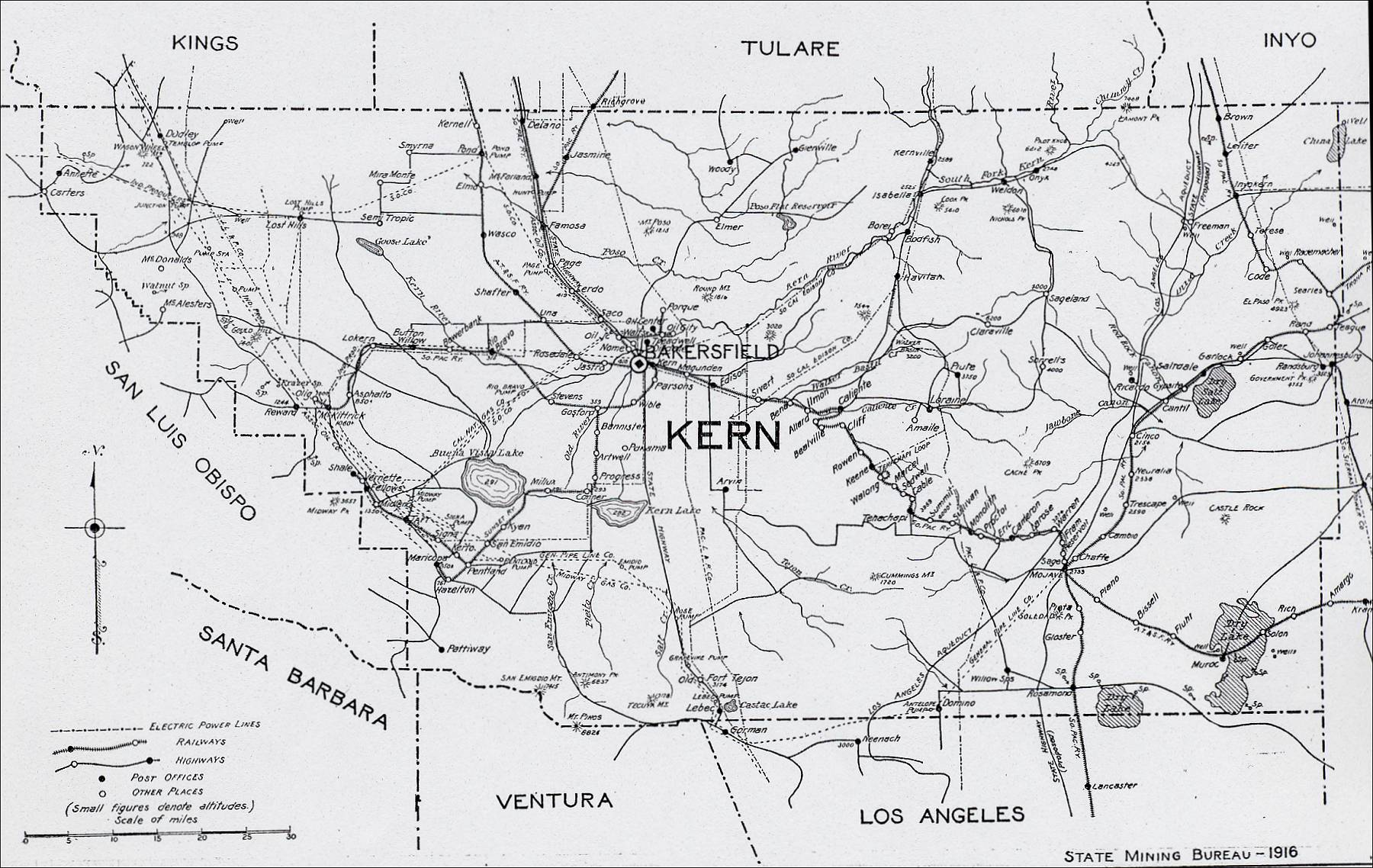 Kern County 1916 Map - Bakersfield Ca • mappery on detailed map of kern county california, topographic regions of california, lines maps of california, gemstone mine map southern california, map of madera county california,