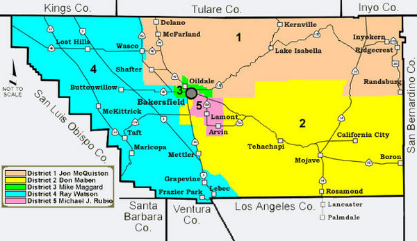 Kern County District Supervisor Areas Map
