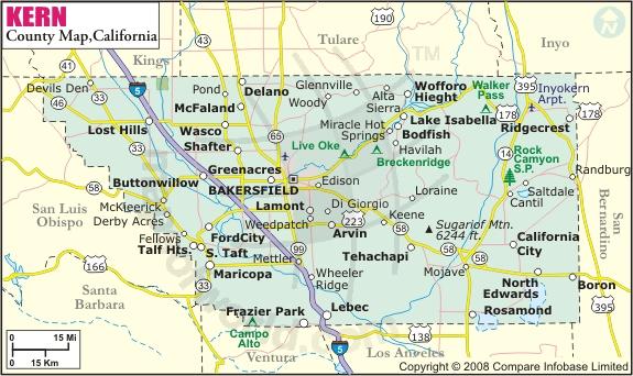 Kern County Map Bakersfield Ca Mappery - Ca county map