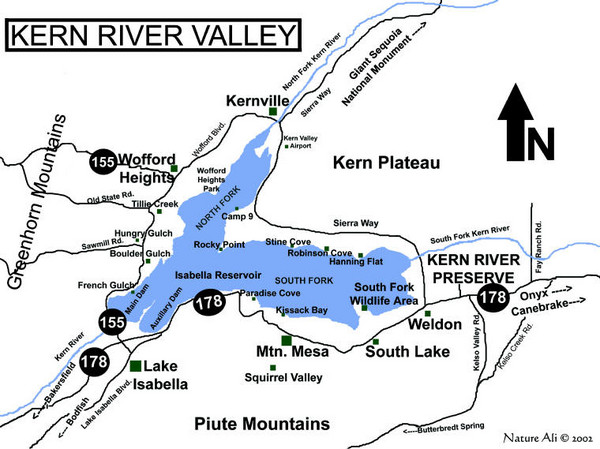 Kern River Valley Area Map