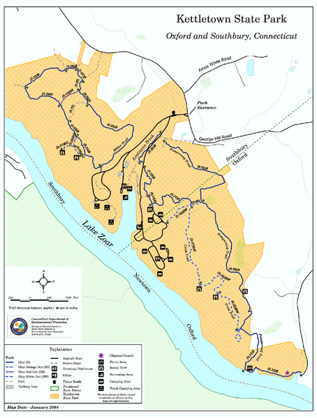 Kettletown State Park trail map - oxford ct • mappery