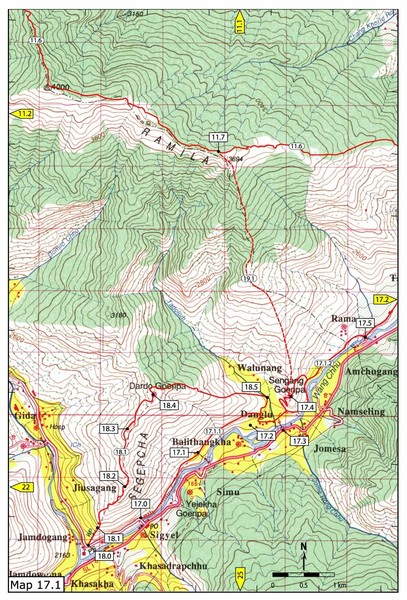 Khasadrapchu to Thimphu trail pt 1 Map Thimphu mappery