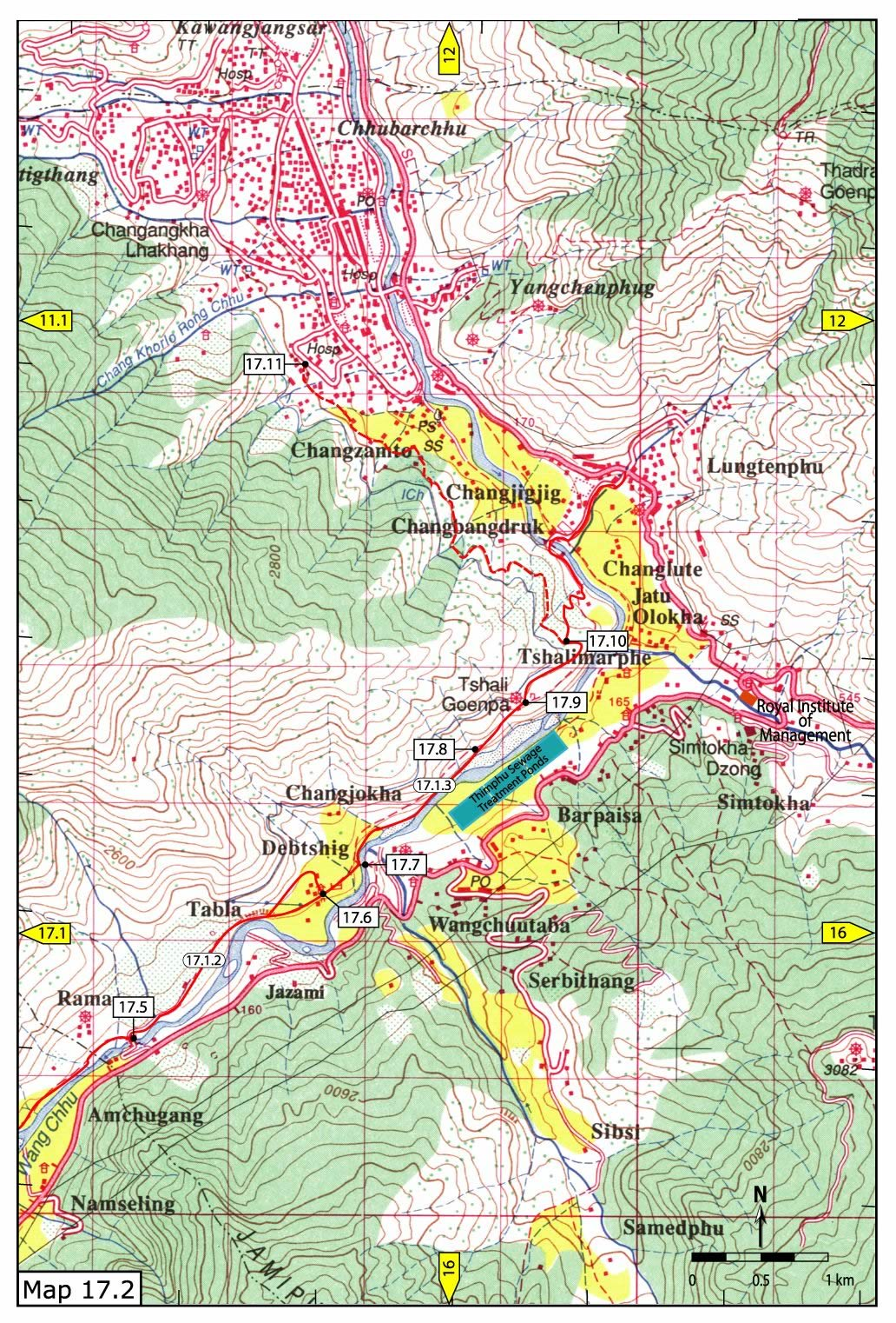 Khasadrapchu to Thimphu trail pt 2 Map Thimphu mappery