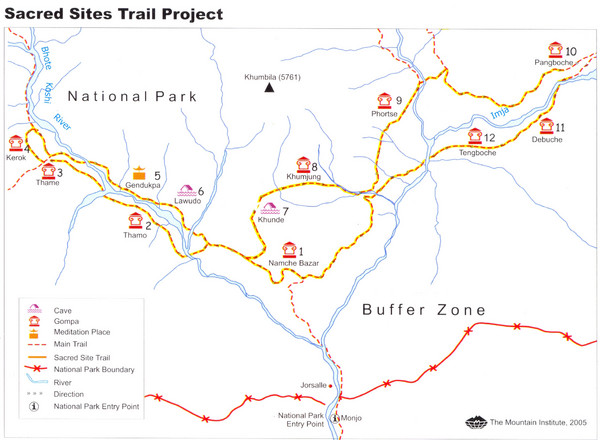 Khumbu Region Sacred Sites Trail Map